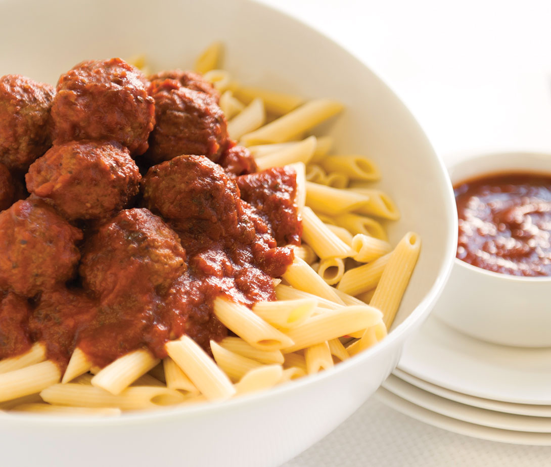Pasta and Meatballs in a bowl